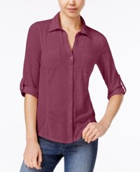 Almost Famous Juniors' Ribbed Panel Utility Top Rosewood