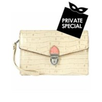L.A.P.A. Ivory Croco Embossed Leather Clutch