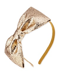Kate Spade New York Girls' Glittered Large Bow Headband Gold