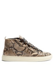 Balenciaga Arena High Top Python Effect Leather Trainers Beige