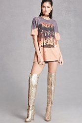 Forever 21 Thigh High Metallic Boots Gold