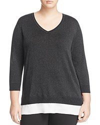Calvin Klein Plus Long Sleeve V Neck Sweater Black