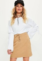 Missguided Tan Eyelet Lace Front A Line Mini Skirt