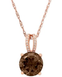 Macy's Smoky Quartz 2 1 2 Ct. T.W. And Diamond 1 8 Ct. T.W. Pendant Necklace In 14K Rose Gold