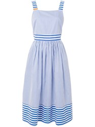 Chinti And Parker Striped Summer Dress Blue