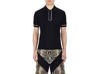 Givenchy Men's Chain Embellished Cotton Polo Shirt Black
