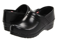 Sanita Professional Cabrio Black Brush Off Leather Women's Clog Shoes