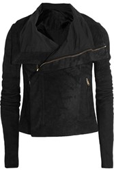 Rick Owens Blister Brushed Leather Biker Jacket Black