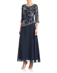 J Kara Asymmetrical Beaded Gown Navy