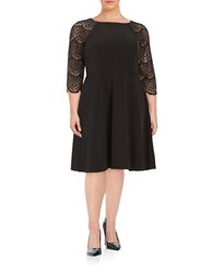 London Times Plus Lace Fit And Flare Dress Black