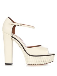Valentino Baracoa Wicker Platform Sandals White Black