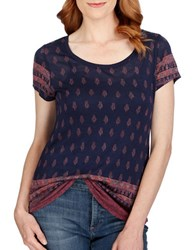 Lucky Brand Short Sleeve Supima Cotton Blend Top Navy Multi