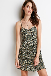 Forever 21 Ditsy Floral Babydoll Dress Yellow Black