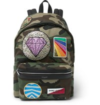 Saint Laurent City Appliqued Camouflage Print Twill Backpack Army Green
