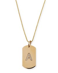 Zoe Chicco Personalized 14K Gold Pave Diamond Initial Dog Tag Necklace