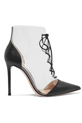 Gianvito Rossi 105 Lace Up Pvc And Leather Ankle Boots Black