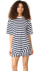 The Fifth Label Off Duty T Shirt Dress Navy White Stripe