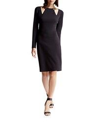 Halston Fitted Ponte Dress Black