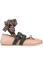 Miu Miu Lace Up Patent Leather Ballet Flats Blush