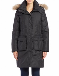 Andrew Marc New York Convertible Coyote Fur Trimmed Parka Black