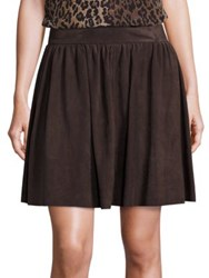 Saks Fifth Avenue Suede A Line Skirt Chocolate Black