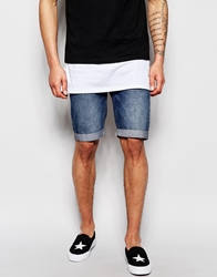 Religion Riot Slim Fit Denim Shorts With Turn Up Erodeblue