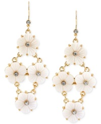 Macy's Haskell Gold Tone White Flower Chandelier Earrings