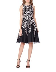 Tahari By Arthur S. Levine Floral Fit And Flare Dress Black Blush