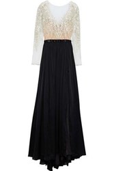 Catherine Deane Kayley Embroidered Tulle Paneled Silk Satin Gown Black