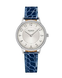 Slim D'hermes Gm Watch With Diamonds And Blue Alligator Strap