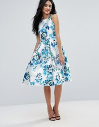 Forever Unique Floral Racer Skater Dress Blue