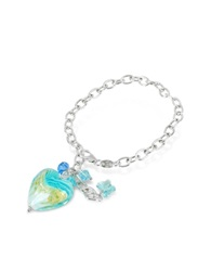 House Of Murano Mare Turquoise Murano Glass Heart Charm Sterling Silver Bracelet