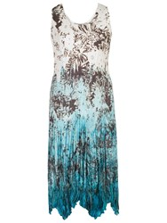 Chesca Printed Ombre Crush Pleat Dress Ivory Turquoise