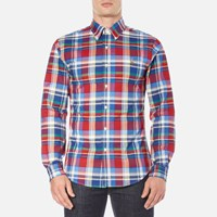 Polo Ralph Lauren Men's Long Sleeve Checked Stretch Oxford Shirt Red Blue Red Blue