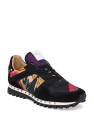 Valentino Floral Print Suede Trim Sneakers Multi