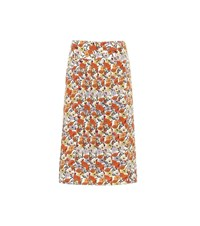 Tory Burch Pleated Floral Silk Skirt Multicoloured