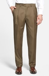 Santorelli 'Luxury Serge' Double Pleated Wool Trousers Olive