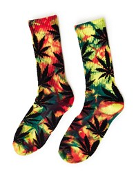 Huf Tiedye Plantlife Rainbow Crew Sock Yellow