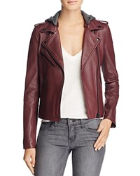 Linea Pelle Hooded Leather Moto Jacket Crimson