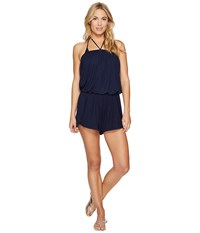 Lucky Brand Catalina Sunset Dolphin Hem Halter Romper Cover Up Indigo Women's Swimsuits One Piece Blue