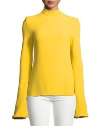 Brandon Maxwell Mock Neck Flare Sleeve Top Yellow