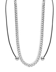 Design Lab Lord And Taylor Chainlink Cord Necklace Black Silver