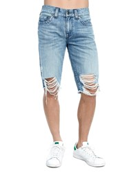 True Religion Ricky Distressed Denim Shorts Fawl Solar Blue