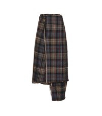 Y Project Checked Wool Midi Skirt Blue