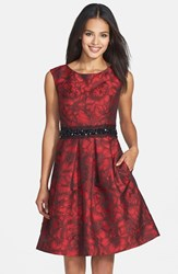 Women's Eliza J Embellished Waist Brocade Fit And Flare Dress