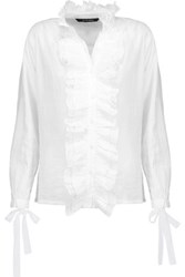W118 By Walter Baker Sonia Ruffled Cotton Broadcloth Top White