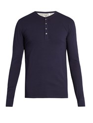 Paul Smith Henley Cotton Jersey Pyjama Top Navy