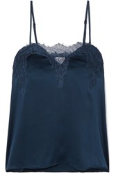 Cami Nyc The Sweetheart Lace Trimmed Silk Charmeuse Camisole Navy