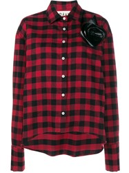 A.W.A.K.E. Plaid Shirt With Removable Floral Brooch Red Black White Blue