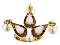 Oscar De La Renta Cabochon Pearl Stone And Pearl Ring Blossom Ring Pink